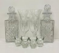 A Selection of glassware to include two decanters, two Dartington dessert wine glasses, two