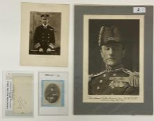 Admiral of the Fleet John Jellicoe 1859-1935 Signature, one picture and one silk portrait