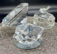 A selection of French crystal, decorative crystal and a cut glass pot
