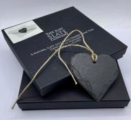 Two Boxes of 4 Natural Slate Love Heart Shaped Name Tags, hand cut in Scotland by The Just Slate