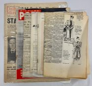 Three WWII newspapers: Observer June 11 1944, Daily Mirror April 6th 1940, News Chronicle April