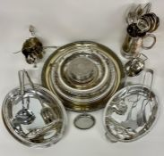 A Large volume of silver plated items to include coasters, serving tureen and cutlery