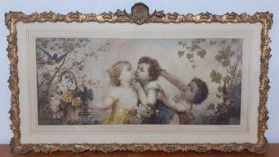 A hand coloured print after Franz Lefler (1831-1898) Austrian, 'Les jeunes amoureux ', with an