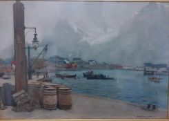 """Alfred Heaton Cooper (1863-1929) English, """"Svolvaer, Lofoten Islands, Northern Norway"""", signed and"""