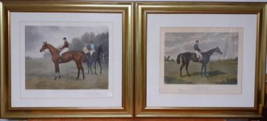 A pair of equestrian prints within a gilded frame, (41x50 cm). (2)