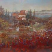 """Provencal Village"", a framed and glazed print, (60x60 cm)."