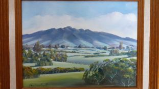 A pair of landscapes, oil on canvas, illegibly signed, (16x21.5 cm). (2)