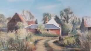 """""""Farm at Winkfield"""", a pastel by Christopher Smith, signed, framed and glazed, (33x45 cm)."""