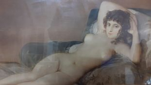 "A print depicting ""La maja desnuda"" (Goya), framed and glazed, (39x66 cm)."