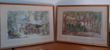 A pair of French prints, signed and titled, framed and glazed, (39x56 cm). (2)