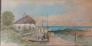 A pair of watercolours, signed: 'Chas Masters', framed and glazed, (12x24.5 cm). (3)