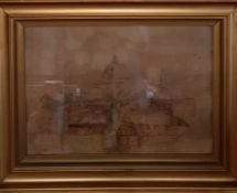 Italian view, illegibly signed, watercolour, (37x54)