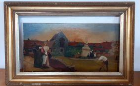 Naive school, oil on canvas, framed, (40x69 cm)