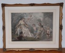 """""""The offering"""", an important hand-coloured print after Franz Lefler (1831-1898) Austrian, framed and"""