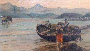 An oil on canvas signed 'E.M', framed (34x52 cm).