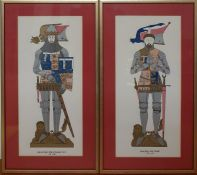 A pair of prints of a medieval tomb style including the images of 'Henry Percy (Hotspur)' and '