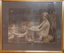 A print after Mary F. Raphael (1889-1917) British, 'Water Nymph', framed and glazed, (35x49.5 cm).