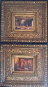 A pair of prints after George Morland, within an elaborate and gilded frame, (37x41 cm with