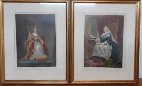 A pair of prints of Queen Victoria in 1837 and 1877, framed and glazed, (36.5x27 cm). (2)