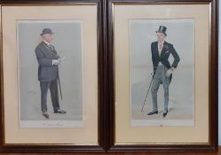"""A pair of original Vanity Fair chromolithographies of gentlemen caricatures by """"Spy"""", framed and"""