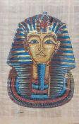 A graphic image of Tutankhamun's golden mask, framed and glazed, (44x34 cm).