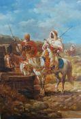 A copy of Adolf Schreyer's 'Horsemen at a Well', oil on panel, framed, (18x13 cm).