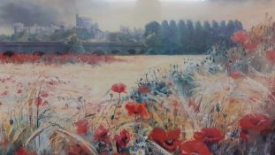 """Noel Gregory (1944) British, """"Poppy field. Windsor"""", signed and numbered 46/500, lithograph,"""