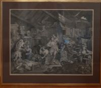 """""""Strolling Actresses Dressing in a Barn"""" a print after William Hogarth, (43.5x55 cm)."""