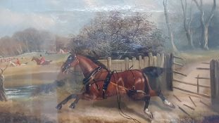 English school, 'Fox hunting scene', signed: 'Jackson' and dated 1882, oil on canvas, framed and
