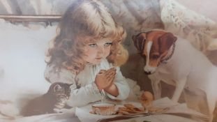 """A print after Charles Burton Barber (1845–1894) British, """"Suspense"""" (or The prayer), framed and"""