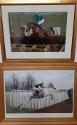 A photography and a print signed by Thomas Richard Dunwoody MBE. (2)
