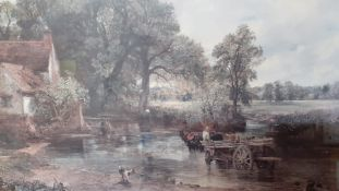 """A print after Constable's """"The Haywain"""", within a wooden and glazed frame, (29x39 cm)"""