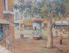"""The kiosck at St. Tropez"", a print after Cecil Rochfort D'Oyly-John, framed and glazed, (42x53"