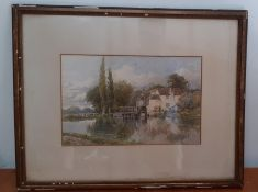 'Watermill house', a watercolour signed, framed and glazed, (19x29.5 cm)