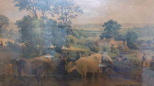 A print depicting a farm scene, within an elaborate gilded frame and glazed, (51x77 cm).