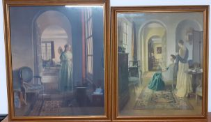 A pair of prints after Leonard Campbell Taylor RA, framed and glazed, (52x44 cm largest). (2)