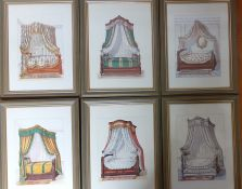 A set of six prints depicting Empire beds, (23x16.5 cm). (6)