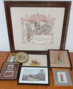 A Great War badge 'King's Certificate' of Honorable Discharge (lithograph), together with other