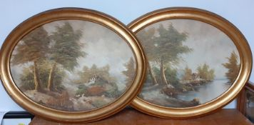A pair of oval landscapes paintings, illegibly signed, gilded framed (50x69 cm). (2)