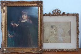 """""""Gladys, Daughter of Major Lutley Jordan"""" a print after Mary Lemon Waller, framed, together with """""""