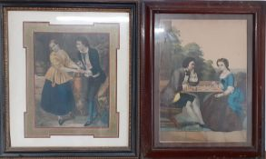 A pair of 19th century prints, framed and glazed, (35x25 cm largest). (2)
