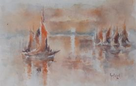 'Boats at sunset', a watercolour signed: 'Roux Latour' and dated '96 (33x44 cm).