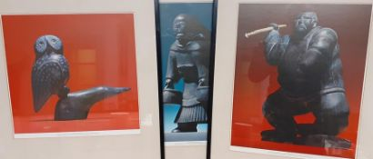Three prints depicting Inuit Art (60x53 cm with frame). (3)