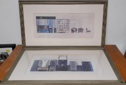A pair of prints for a movie set after Peter Lamont, from the personal collection of the Oscar