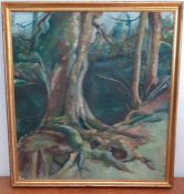 Atributed to Sophie Walbeoffe (1961), 'Tree and river', dedicated and signed in pencil verso, oil on