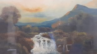 'Waterfall', an oil on board, framed and glazed, (30x45 cm)