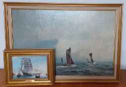 A pair of maritime prints, framed, (48x74 cm largest). (2)