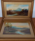 A pair of Scottish landscapes, unsigned, mixed media on paper, (25x45 cm). (2)