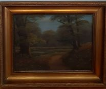 Carl Petersen (1866-1930), 'Landscape with pond', signed, oil on canvas, (28.5x38.5 cm).