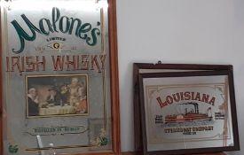 A pair of Vintage pub mirror-advertising, (94x64 cm largest). (2)